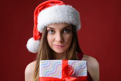 Fairy style trendy people person concept. Close up studio photo portrait of cute glad nice excited charming gorgeous lady holding. White box in hand isolated on royalty free stock image