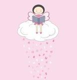 Fairy su una lettura della nube Fotografia Stock