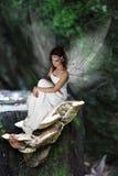 Fairy sul fungo Fotografie Stock Libere da Diritti