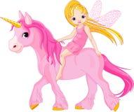 Fairy sull'unicorno Immagine Stock