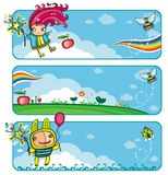 Fairy sunny bunners for kids. With copy-space stock illustration