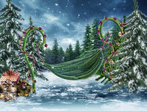 Fairy swing with Christmas lights Royalty Free Stock Photo