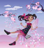Fairy swinging on a swing Royalty Free Stock Images