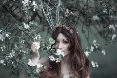 Fairy-tail forest nymph wearing crown, beautiful woman at spring garden, vintage dreamy fashion style stock photography