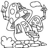 Fairy tail house coloring pages Royalty Free Stock Photo