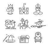 Fairy tail icons thin line art set Stock Photos