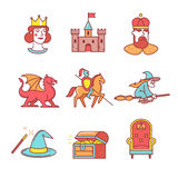 Fairy tail icons thin line set Royalty Free Stock Photos
