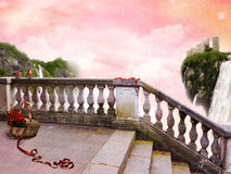 In Fairy Tale. The beautiful Poster In Fairy Tale with fanastic Sky. Ahead on a balcony there is a basket with red roses and a red tape Stock Image