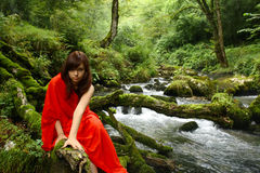 Fairy tale. Girl in red at a brook royalty free stock photos