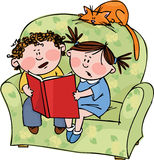 Fairy tale. Boy and girl reading a book of fairy tales Stock Images