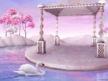 Fairy tale. Beautiful Fairy tale Landscape with white Swan Stock Photo