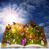 Fairy tale. Abstract fantasy backgrounds with magic book Stock Photo