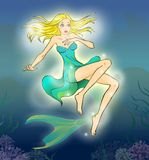 Fairy tale 7. Mermaid suprized by her legs. Cartoon illustration for the tale Mermaid. Mermaid looks in wide-eyed astonishment on her legs Royalty Free Stock Photo