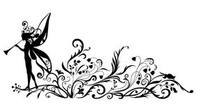 Fairy tale. Vector  Illustration Silhouette of fairy with magic fife on flower  pattern design Royalty Free Stock Image