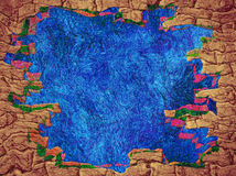 Fairy tale abstract background with blue space and brick frame b Royalty Free Stock Photo