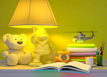 The fairy tale for the baby. Book, toys, lamp, hours, glass of milk Stock Image