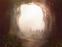 Fairy tale background trees forrest sun dust landscape. Fantasy stock image