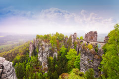 Fairy-tale Bastei bridge, Sachsische Schweiz. Fairy-tale view of Bastei bridge, Sachsische Schweiz near Dresden area, Germany Royalty Free Stock Photo