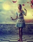 Fairy tale - beautiful girl wearing a blue dress - fantasy scene Stock Photos