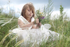 Fairy-tale beautiful little girl on a lawn Stock Photos