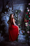 Fairy tale. Beautiful princess in red dress sitting in a mystical garden Stock Images