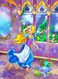 """Fairy tale beauty. Illustration for old  fairy tale such as  """"Cinderella"""" or smth by Grimm brothers or S. Perro Stock Photos"""