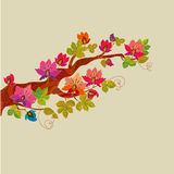 Fairy tale blossom tree branch with vivid fantastic flowers, Stock Photography