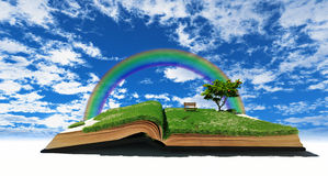 Fairy tale book. Open book with grass and tree. illustration concept Royalty Free Stock Photo