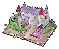 A fairy-tale book. Artistic illustration. Fairy tale pop-up book with a dragon and a princess near her castle Stock Image