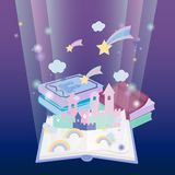 Fairy tale book concept with magic fantasy pop-up scenes. Vector illustration. Fairy tale book concept with magic fantasy pop-up scenes royalty free illustration