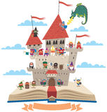 Fairy Tale Book. Open book with fairy tale castle on it, on white background. No transparency and gradients used Royalty Free Stock Photography
