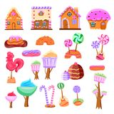 Fairy Tale Candy Land Set. Of flat icons gaming interface elements from various sweets isolated vector illustration royalty free illustration