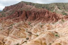 Fairy Tale Canyon. Also Skazka, rock formations on the Issyk-Kul lake, Kyrgyzstan Royalty Free Stock Photo