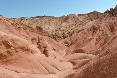Fairy Tale Canyon. Also Skazka, rock formations on the Issyk-Kul lake, Kyrgyzstan Royalty Free Stock Images