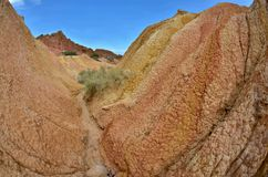 Fairy tale canyon in Kyrgyzstan with colourful sandstone rocks,Issyk-Kul lake,desert area near Bokonbayevo stock photo