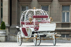 Fairy tale carriage. Photo of White metal Fairy tale carriage Royalty Free Stock Images