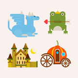 Fairy tale cartoon characters and magic vector flat animals. Fairy tale popular cartoon characters and magic animals. Magical fairytale pumpkin coach for Royalty Free Stock Photography