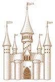 Fairy-tale castle. Sketch of fairy-tale castle on white background Royalty Free Stock Photo