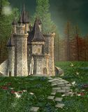 Fairy tale castle. In an enchanted forest stock illustration
