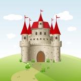 Fairy-tale castle. On a green field Stock Photo