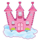 Fairy tale castle. Pink romantic fairy tale castle in the clouds vector illustration Stock Photos