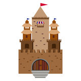 Fairy tale castle on a background of hills in the circle Royalty Free Stock Photo