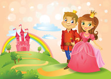 Fairy tale castle and beautiful Princess and Prince Royalty Free Stock Images