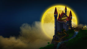 Fairy tale castle. With a bridge in the night sky and the moon Royalty Free Stock Photos