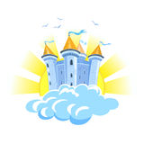 Fairy tale castle in the clouds with the sun Royalty Free Stock Photography