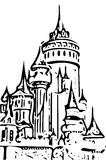 Fairy tale castle drawing on white stock images