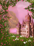 Fairy tale castle. Dreamy illustration of a fairy tale landscape Stock Photo