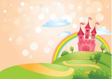 Fairy Tale castle. FairyTale landscape, the road leading to the castle. Vector illustration stock illustration