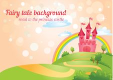 Fairy Tale castle. FairyTale landscape, the road leading to the castle. Vector illustration Royalty Free Stock Images