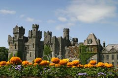 Fairy Tale Castle With Flowers. A European castle with a group of flowers in the foreground from the formal gardens. This castle is like in a fairy tale with Royalty Free Stock Photography
